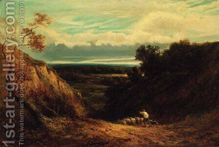 An extensive wooded landscape with a shepherd and flock by (after) David Cox - Reproduction Oil Painting