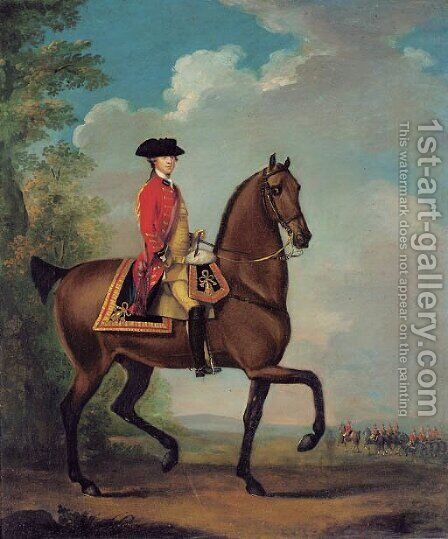 Equestrian portrait of Richard Hilary Taylor by (after) David Morier - Reproduction Oil Painting