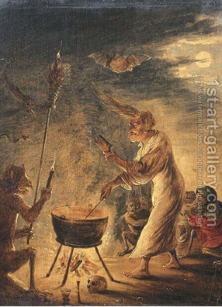 A coven of witches by (after) David The Younger Teniers - Reproduction Oil Painting