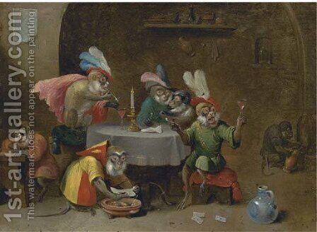A tavern interior with monkeys drinking and smoking by (after) David The Younger Teniers - Reproduction Oil Painting