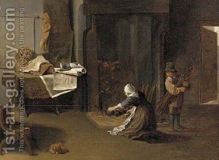 A young man and a woman lighting a fire in a study by (after) David The Younger Teniers - Reproduction Oil Painting