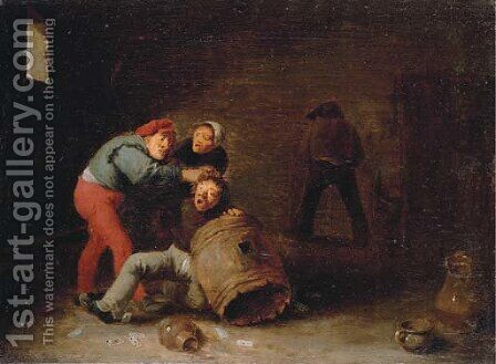 Boors brawling in a tavern by (after) David The Younger Teniers - Reproduction Oil Painting
