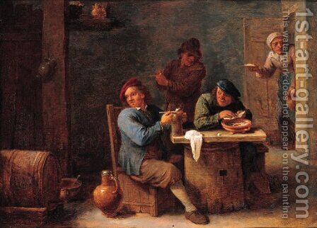 Boors smoking in a barn by (after) David The Younger Teniers - Reproduction Oil Painting