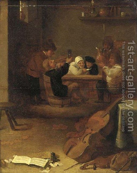 Peasants drinking and smoking in an inn, musical instruments in the foreground by (after) David The Younger Teniers - Reproduction Oil Painting