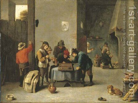 Peasants playing backgammon in an interior by (after) David The Younger Teniers - Reproduction Oil Painting
