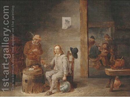 Peasants smoking and drinking in a tavern 3 by (after) David The Younger Teniers - Reproduction Oil Painting