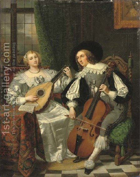 A musical couple by (after) David Van Der Kellen III - Reproduction Oil Painting