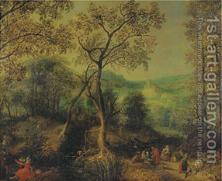 A wooded landscape with peasants returning from a market and an elegant couple making merry nearby by (after) David Vinckboons - Reproduction Oil Painting