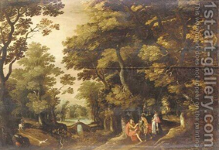 A wooded landscape with Saint John the Baptist in the wilderness by (after) David Vinckboons - Reproduction Oil Painting