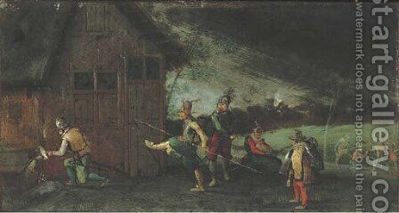 Soldiers looting a house by (after) David Vinckboons - Reproduction Oil Painting
