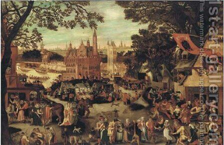The fair at Audenaerde or the kermesse of Saint George by (after) David Vinckboons - Reproduction Oil Painting