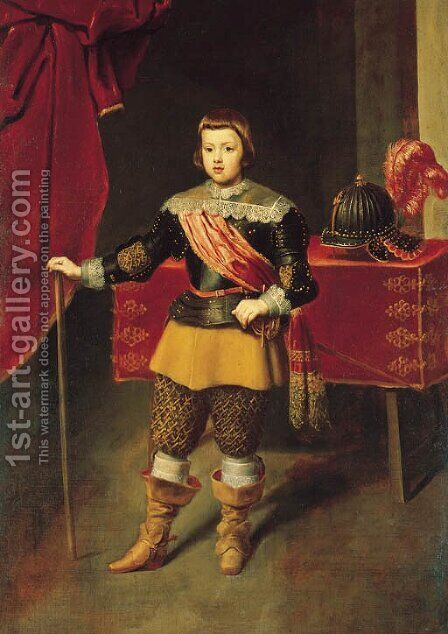 Portrait of the Infante Baltasar Carlos, son of Philip IV and Isabella of Bourbon by (after) Diego Rodriguez De Silva Y Velazquez - Reproduction Oil Painting