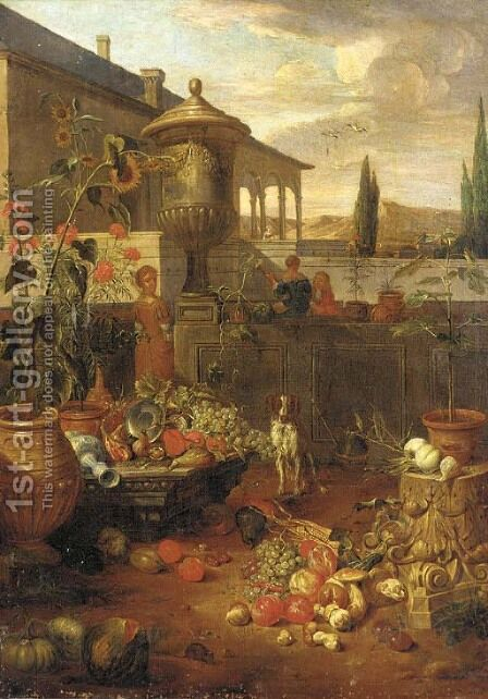 An Italianate villa and garden with figures by (after) Dirk Valkenburg - Reproduction Oil Painting