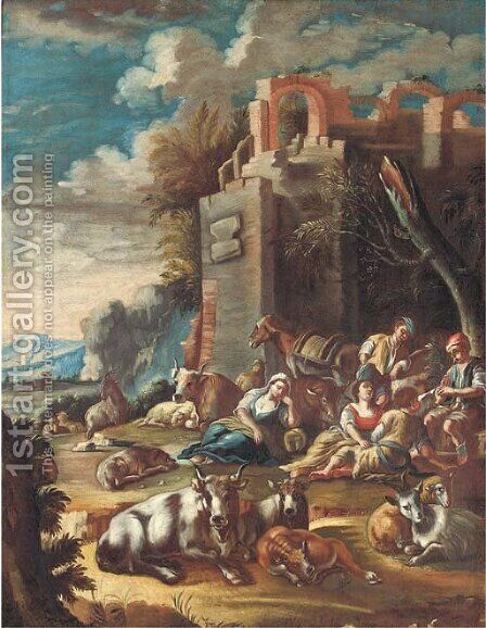 An Italianate landscape with peasants resting with cattle and sheep amongst ruins by (after) Domenico Brandi - Reproduction Oil Painting
