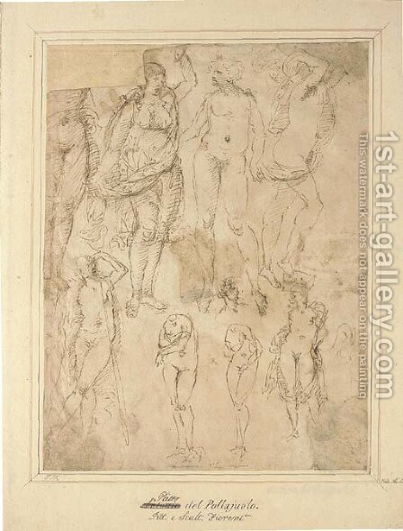 Studies after the Antique by (after) Domenico Ghirlandaio - Reproduction Oil Painting