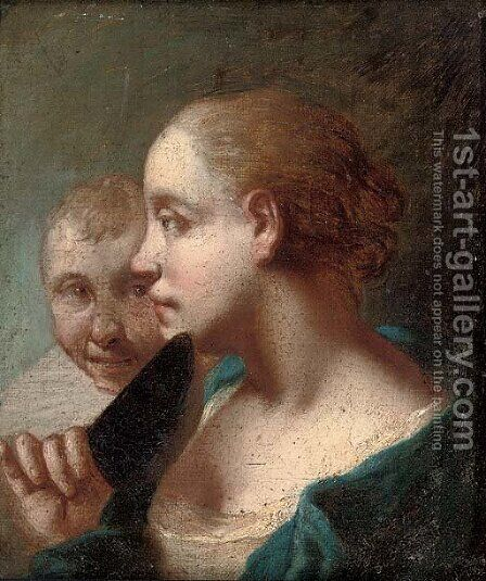 A young woman with a knife in her right hand, a young man behind by (after) Domenico Maggiotto - Reproduction Oil Painting
