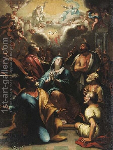 The Pentecost by (after) Domenico Piola - Reproduction Oil Painting