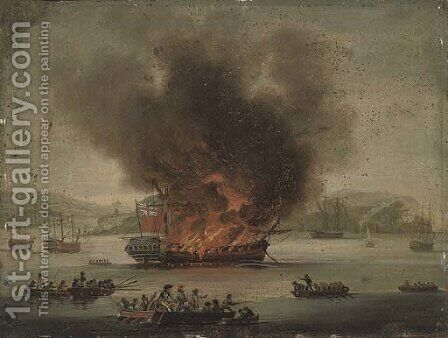 A frigate ablaze offshore by (after) Dominic Serres - Reproduction Oil Painting