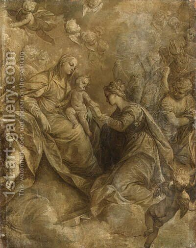 The Mystic Marriage of Saint Catherine of Alexandria, with angels and cherubim, en grisaille by (after) Donato Creti - Reproduction Oil Painting