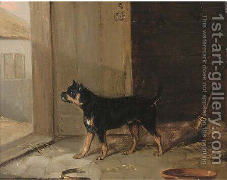 A bullterrier hearing a visitor by (after) Edmund Bristow - Reproduction Oil Painting