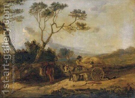 A peasant loading wood on to a donkey cart by (after) Edmund Bristow - Reproduction Oil Painting