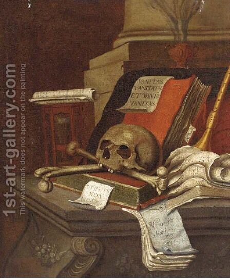 A vanitas still life with books by (after) Edwaert Collier - Reproduction Oil Painting