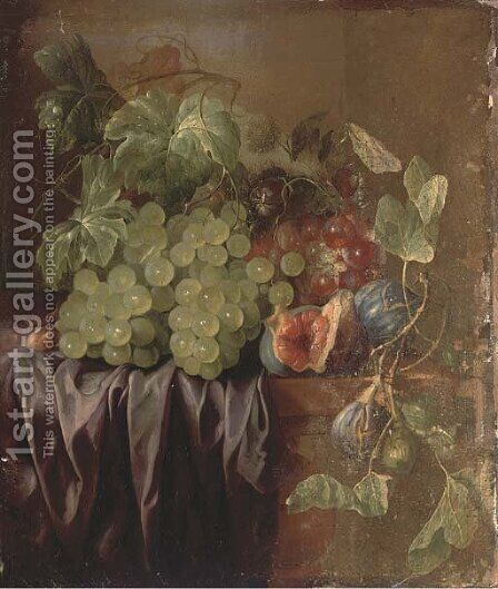 Grapes, figs, an acorn and a drape on a ledge by (after) Edward Ladell - Reproduction Oil Painting