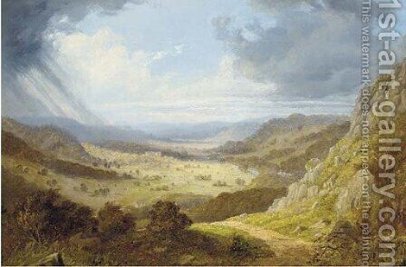An approaching storm, Chatsworth, Derbyshire by (after) Edward Train - Reproduction Oil Painting