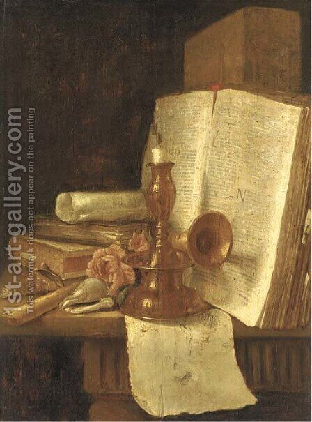 A brass candlestick, books, roses and shells on a table by (after) Edwart Collier - Reproduction Oil Painting