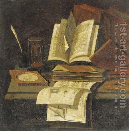 Books, an hourglass, a quill and ink pot and a compass on a table by (after) Edwart Collier - Reproduction Oil Painting