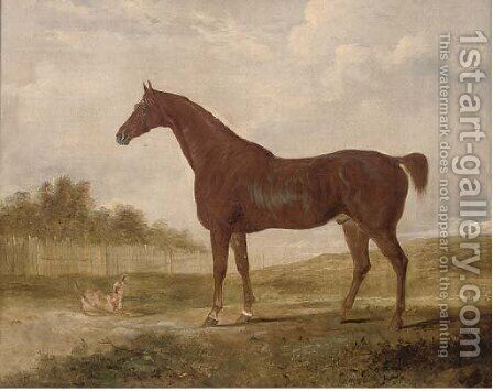 A chestnut hunter and a terrier in an extensive landscape by (after) Edwin Cooper - Reproduction Oil Painting
