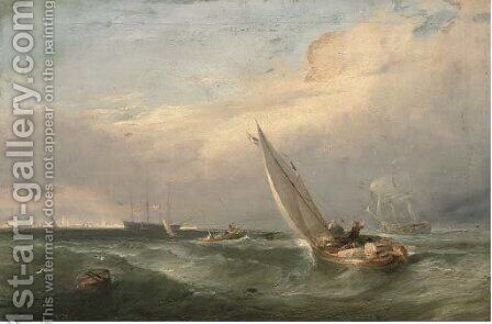 A man'o-war being towed into port by (after) Edwin Hayes - Reproduction Oil Painting