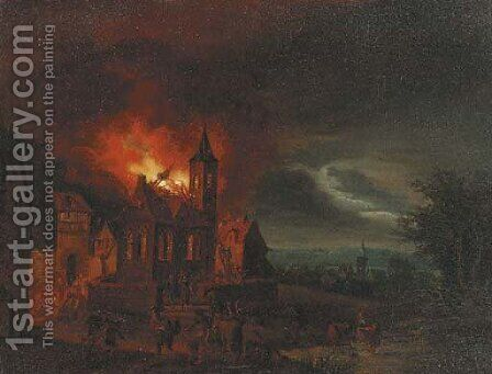 A nocturnal townscape with a church on fire by (after) Egbert Van Der Poel - Reproduction Oil Painting