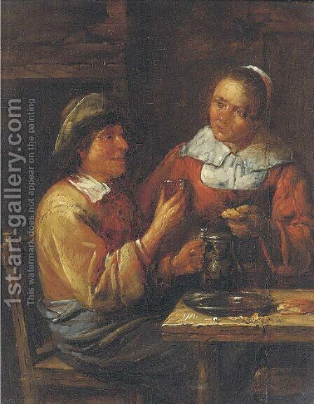 A peasant couple eating in an interior by (after) Egbert Van Heemskerck - Reproduction Oil Painting
