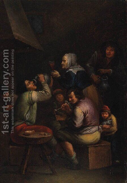 Peasants drinking and smoking in a Tavern by (after) Egbert Van The Elder Heemskerk - Reproduction Oil Painting