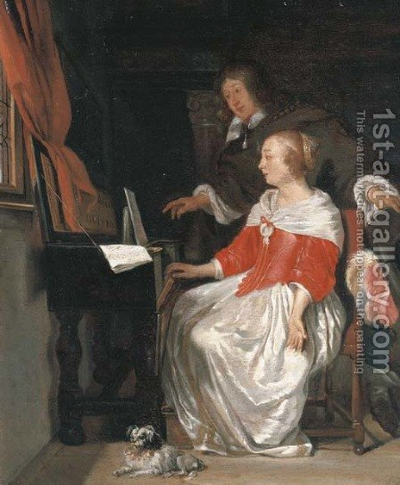 A music lesson by (after) Eglon Van Der Neer - Reproduction Oil Painting