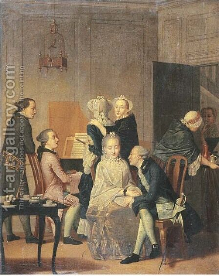 Elegant company making music in an interior by (after) Elisabeth Geertruid Wassenbergh - Reproduction Oil Painting