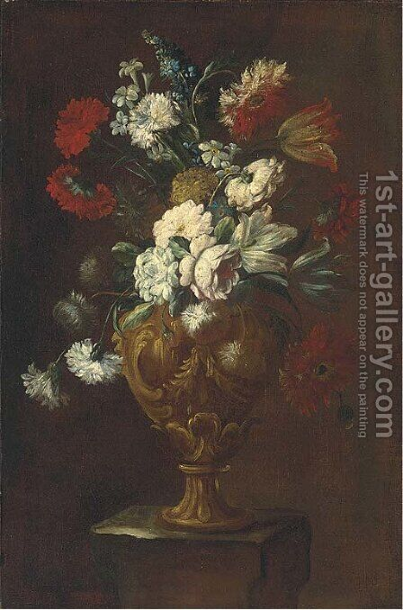 Parrot tulips, roses, carnations and other flowers in a sculpted vase on a pedestal by (after) Elisabetta Marchioni - Reproduction Oil Painting