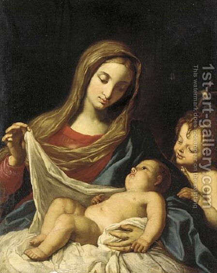 The Madonna and Child, with the Infant Saint John the Baptist by (after) Elisabetta Sirani - Reproduction Oil Painting