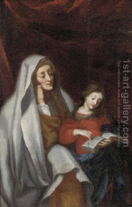 The Education of the Virgin by (after) Erasmus II Quellin (Quellinus) - Reproduction Oil Painting
