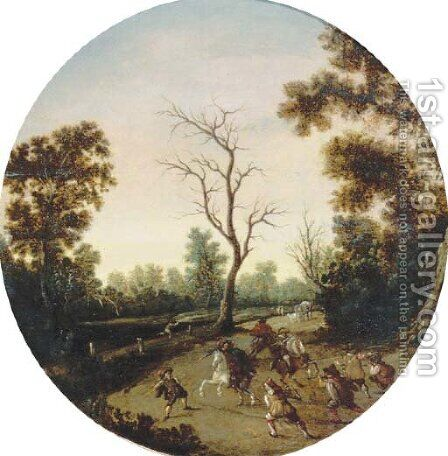 A wooded landscape with an ambush, a horse-drawn cart beyond by (after) Esaias Van De Velde - Reproduction Oil Painting