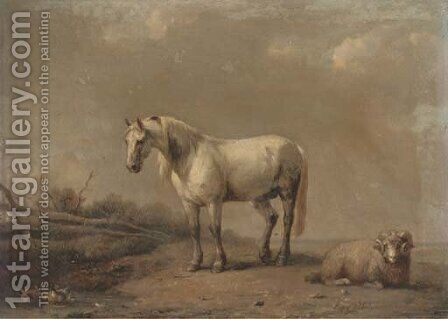 A horse and ram at the farm pond by (after) Eugene Joseph Verboeckhoven - Reproduction Oil Painting