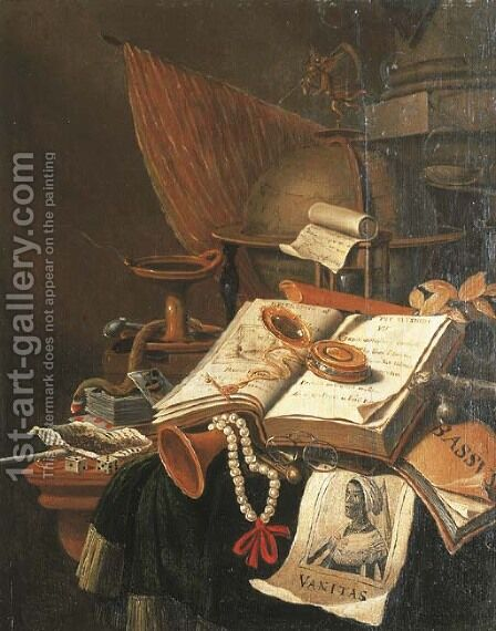 A Vanitas still life with an open book by (after) Evert Collier - Reproduction Oil Painting