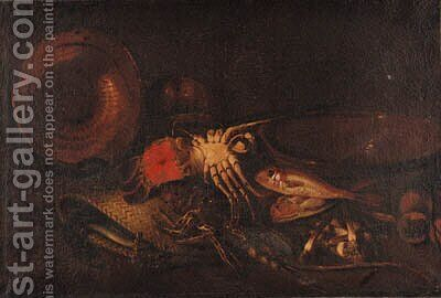 Lobsters, a basket, an upturned copper dish, red mullet, a terracotta bowl on a ledge by (after) Felice Boselli - Reproduction Oil Painting