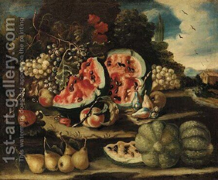 Melons, pears, grapes and apples on a bank by (after) Felice Boselli - Reproduction Oil Painting