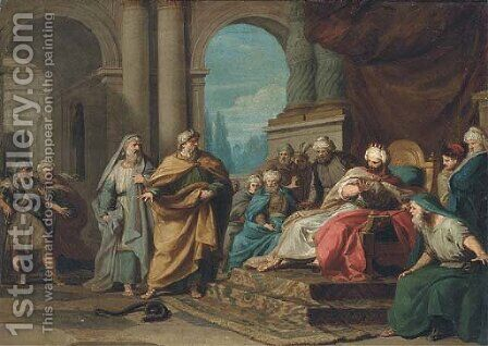 Moses transforming his rod into a snake in front of the Pharaoh and his magicians by (after) Felice Gianni - Reproduction Oil Painting