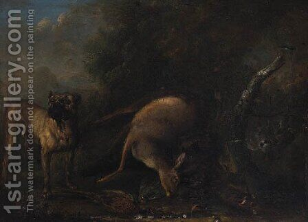 A Mastiff guarding dead Game by (after) Ferdinand Philipp De Hamilton - Reproduction Oil Painting