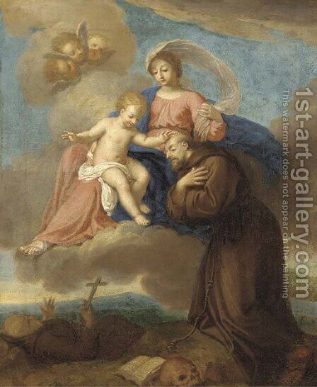 The Virgin and Child appearing to Saint Francis of Assisi by (after) Filippo Lauri - Reproduction Oil Painting