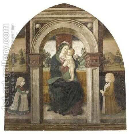 The Madonna and Child Enthroned, with two youthful donors, a landscape beyond by (after) Floriano Ferramola - Reproduction Oil Painting