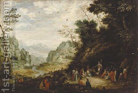Saint John the Baptist preaching to the multitude in a mountainous landscape by (after) Floris Gerritsz. Van Schooten - Reproduction Oil Painting